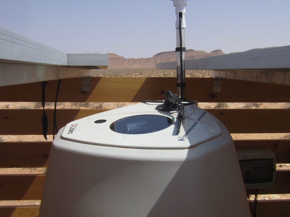 ZX 300 Lidar unit installed in the dessert conditions in a wooden box